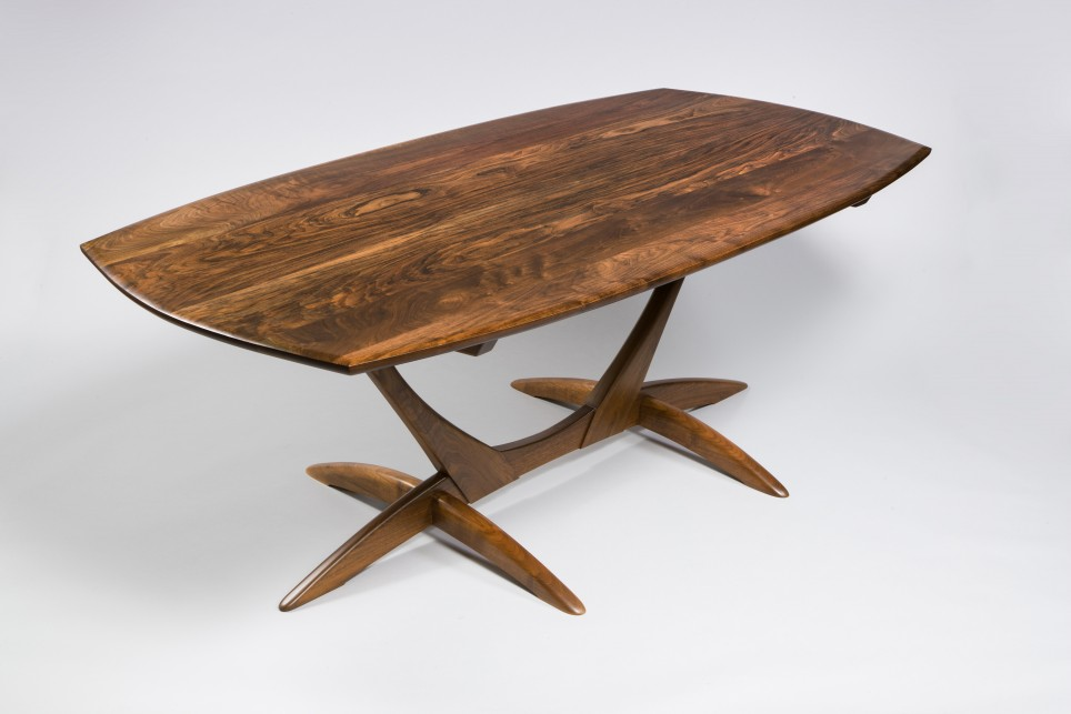 » Book Matched Black Walnut Trestle Table